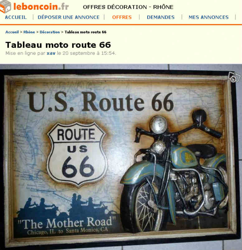 Route 66 usa harley davidson - Le bon coin decoration ...